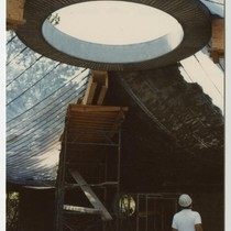 Construction of roof, interior shot looking at skylight, Janko, Dr. and Mrs. ...