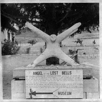 Angel of the Lost Bells statue and sign in Santa Ysabel, CA