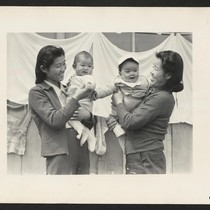 Arcadia, Calif.--Evacuee mothers, with their babies, getting acquainted at the Santa Anita ...