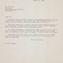 Letter from [Afton] Dill Nance to D. S. [Dillon Seymour] Myer, 1943 ...