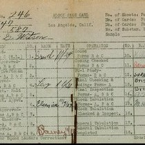 WPA block face card for household census (block 587) in Los Angeles ...