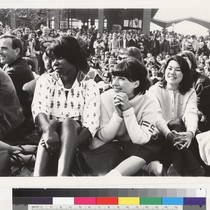 View of students seated in Sproul Plaza