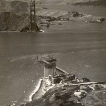 Construction of the south (San Francisco) tower begins after the north tower ...