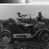 Photograph of two hunters on Model T at the Sunny Bank Farm ...