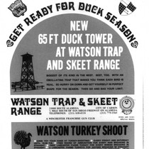 Advertisement for the Watson trap and skeet range