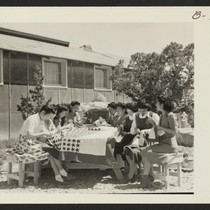The sewing class teachers at Topaz making the Service Flag. Photographer: Bankson, ...