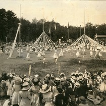 Children dancing around the may poles, Kentfield May Day Celebration, circa 1911 ...