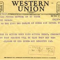 Elinor Green telegram to Eric Berne, 1947-11-17