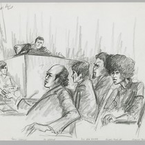 [recto]: For AP [Associated Press] Davis Trial [black & white, pencil sketch]; ...