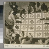 Cooperative quilting. On verso: Quilting by members of a colored cooperative unit, ...