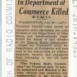 Radio Division In Department of Commerce Killed