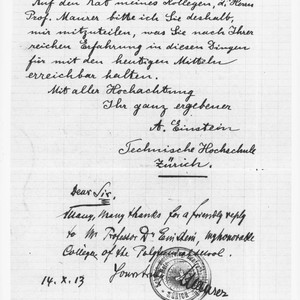 Last page of a letter from Albert Einstein to George Ellery Hale, ...