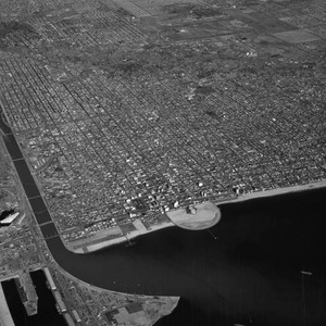 Aerial view of Long Beach, Pike and Municipal Auditorium, looking north