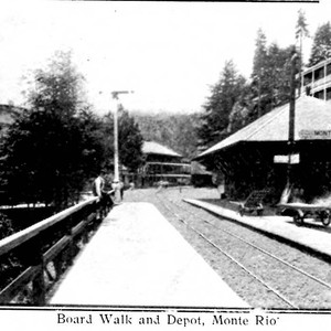 Board walk and depot, Monte Rio, from postcard booklet of Monte Rio ...
