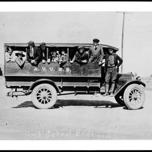 Students on first Antelope Valley Union High School bus, which ran between ...