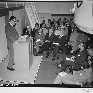 Harold Brown addressing the guests at the dedication of the 60-inch telescope, ...