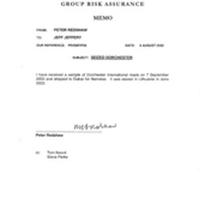 Group Risk Assurance[Memo from Jeff Jeffery to Peter Redshaw regarding seized Dorchester ...