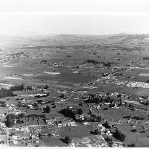 Aerial view looking northeast from Petaluma toward Mount St. Helena