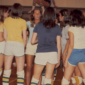 Huddle during volleyball game, Scripps College