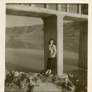 Portrait of an unidentified woman by river in Korea