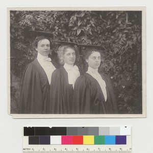 Group portrait of 3 women in caps and gowns, University of California ...