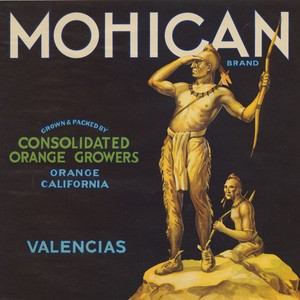 Crate label, Mohican Brand, Consolidated Orange Growers, Orange, California