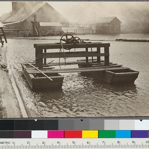 Sinker machine (catamaran) for recovering sinker logs. Note boat construction. Northwestern Lumber ...
