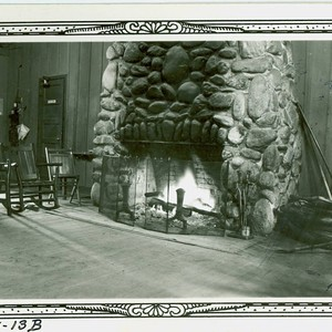 View of the fireplace in the community building at Val Verde Park