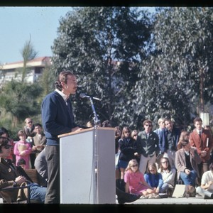 Student giving speech in Gateway Plaza