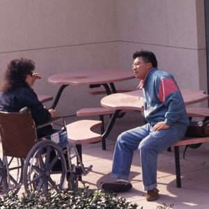 Handicapped students on campus.
