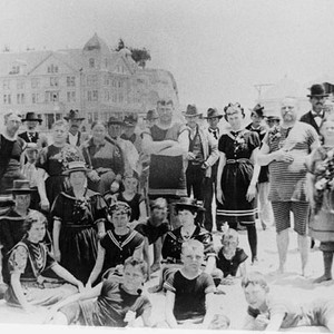 Group on the Capitola Beach with Hotel Capitola