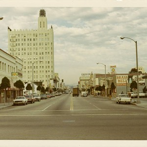 Santa Monica Blvd. looking east from Ocean Ave. on February 14, 1970