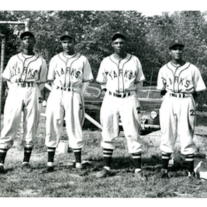 Oakland Larks players (left-right) unidentified player, Milton Pool, Johnny Allen, Winston Arthur
