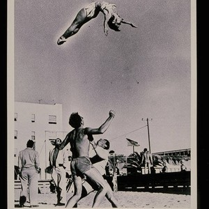 Lee Thompson and Russ Saunders throwing Paula Dell on Muscle Beach, Santa ...