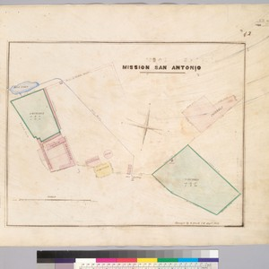 Mission San Antonio / surveyed by G. Black, C.E., Septr. 1854