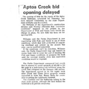 Aptos Creek bid opening delayed