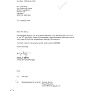 [Letter from Nigel P Espin to Tony Davis regarding hard copy of ...