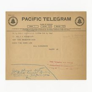 Telegram from Gill Richardson to Jeanne Dockweiler, February 14, 1942