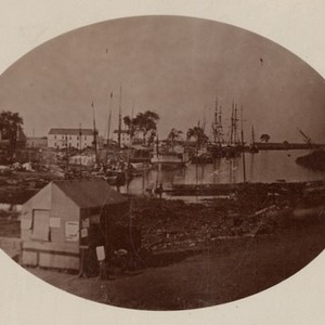 Stockton - Harbors - 1850s: Hunter St. looking down the channel