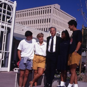 Chancellor Jack Peltason with students