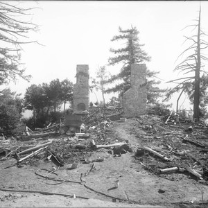 Ruins of Monastery building after fire, Mount Wilson Observatory