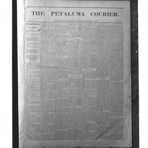 Front page of the Petaluma Courier of October 5, 1856, Petaluma, California