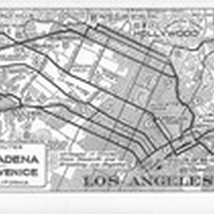 Map showing automobile routes from Los Angeles & Pasadena to Santa Monica, ...