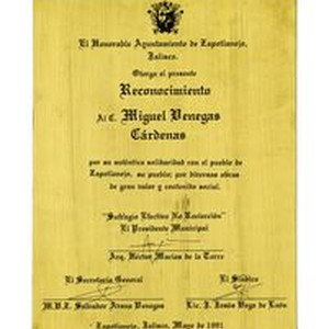 Honorary bronze plaque to Miguel Venegas from city government of Zapotlanejo, Mexico, ...