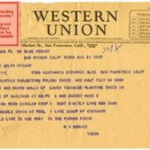Telegram from William Randolph Hearst to Julia Morgan, August 31, 1927