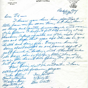 Oakland Larks Baseball Club correspondence from Walter Taylor