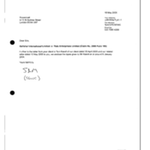 [Letter from Sam to Rosenblatt regarding Gallaher International Limited v Tlais Enterprises ...