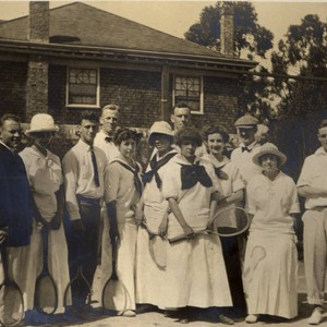 Group gathers for a tennis match at The Mount Tamalpais Military Academy ...