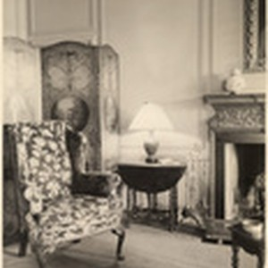 [Interior detail view furniture in living room Richard Barthelmess Residence, 907 Roxbury ...