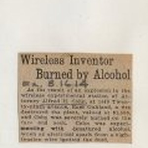 Wireless Inventor Burned by Alcohol